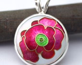 Raspberry And Lime Green Blossom - Cloisonne Enamel and Sterling Silver Pendant