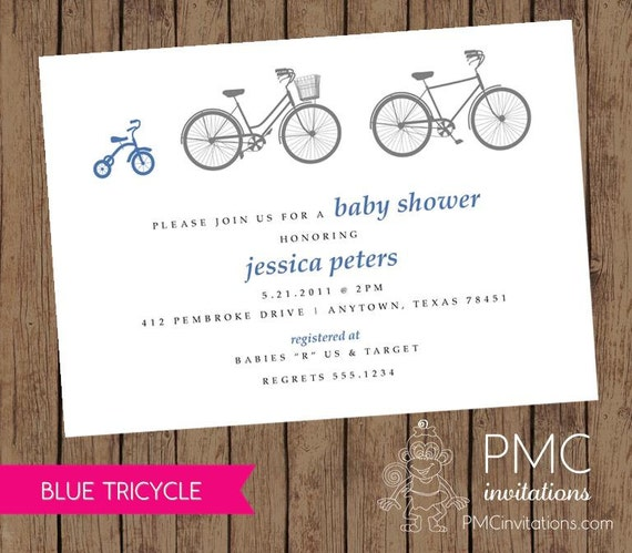 Bicycle tricycle boy baby shower birth announcement invitation blue il570xn filmwisefo