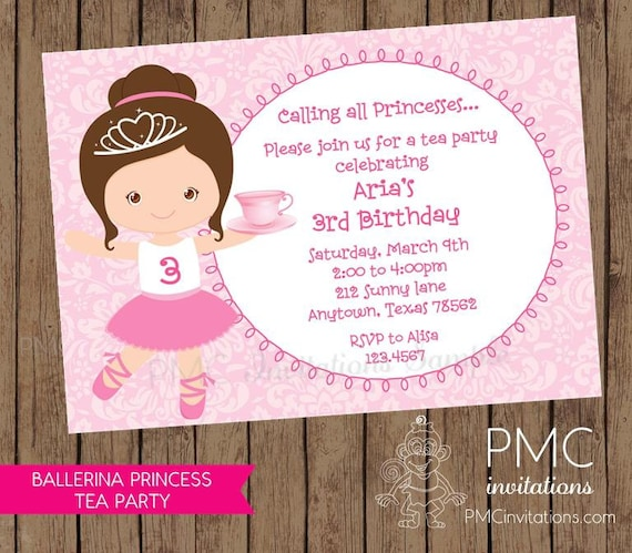 Ballerina Princess Tea Party Birthday Invitations 100 each with – Party Invitation Envelopes