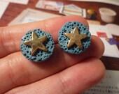 SALE - Round Sponge with Star Stud Earrings