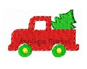 Machine Embroidery Design Applique Mini Truck with Tree INSTANT DOWNLOAD