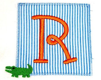 Machine Embroidery Design Applique Alligator Initial Patch INSTANT DOWNLOAD