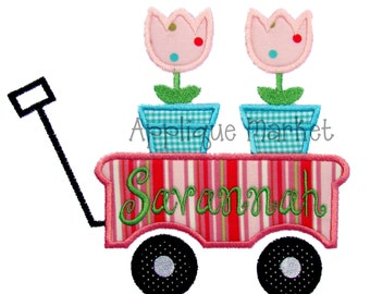 Machine Embroidery Design Applique Wagon Flowers INSTANT DOWNLOAD