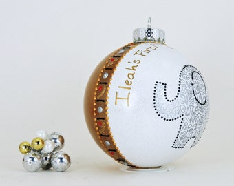 Baby's First Christmas - Personalized custom hand painted ornament - Adorable elephant