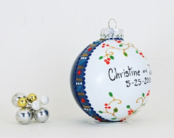 Wedding ornament - Hand painted personalized glass ball - Little berries