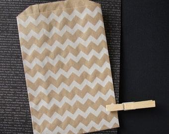 "12 Medium White Chevron Kraft Bags . 5"" x 7.5"" for Favors, Candy, Gift Wrap, Packaging, Envelopes"