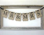 Wedding Sign - Mr and Mrs banner - wedding garland, wedding sign - pick letter colors - wedding decor, wedding photo, wedding ceremony