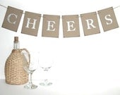 Cheers Banner - rectangle kraft banner - silver glitter letters - choose letter color -  holiday decor, wedding decor,  New Year banner