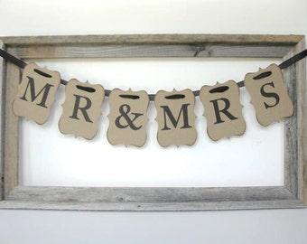 Wedding Sign - Mr and Mrs banner - wedding garland, wedding sign - pick letter colors - wedding decor, wedding photo, wedding ceremony