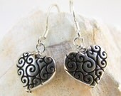 Scrolled Silver Heart Earrings, Handmade by Harleypaws, SRAJD