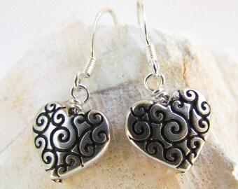Scrolled Silver Heart Earrings, Handmade by Harleypaws, SRAJD
