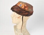 1960s Feather Hat: Vintage Pheasant Toque, 60s Pillbox, Brown Orange