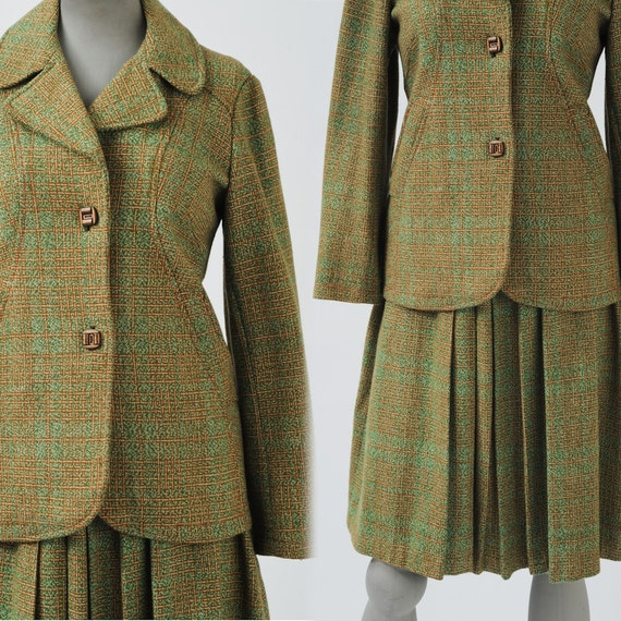 1960s Moss Wool Tweed Suit: Vintage Green Preppy Two Piece, 60s Jacket & Pleated Skirt, Back to School, Autumn Fall Collegiate