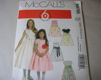 New McCall's, Girls' Dress  Pattern, M5795, CHJ (7-8-10-12-14)  (Free US Shipping)