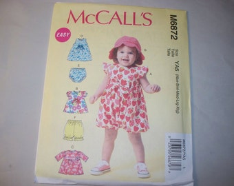 New McCall's  Baby Girl Clothes Pattern, M6872  (Free US Shipping)