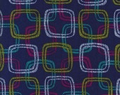 Michael Miller Mod Girls Don't be a Square in Navy Fabric 1 yard