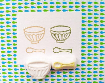 french cafe stamp set. cafe bowl and spoon hand carved rubber stamps. birthday scrapbooking. gift tag, card making. holiday crafts. set of 2
