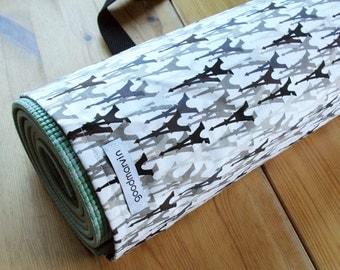 Yoga Mat Bag, Pilates Mat Bag, Black and White Yoga Bag, Eiffel Tower Print - READY TO SHIP