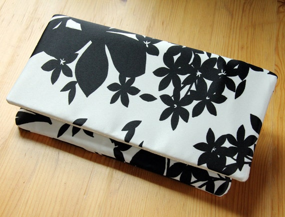 Clutch Handbag Black and White Floral - READY TO SHIP