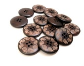 1 inch wooden buttons dark brown 6x lace pattern wooden buttons #BB128H
