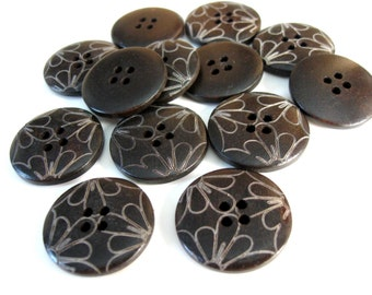 Dark brown Wooden Sewing Buttons 25mm - set of 6 natural wood button - flower petal (BB128B)