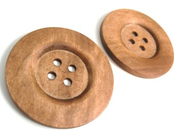 "Extra large wood button - 2 light brown giant wooden buttons 60mm (2 3/8"")  #BB161C"