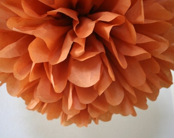 SWEET POTATO / 1 tissue paper pom / diy / wedding decorations / hanging poms / orange decorations / burnt orange / pompom / aisle marker pom