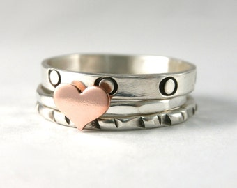 Sweet Heart Sterling Silver Stack Ring Set Of Three Rings, Sterling Silver Custom Rings, Silver Band, Sterling Silver, Copper Heart Ring
