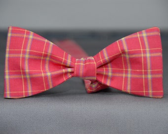 Deep Sea Salmon Window pane  Bow tie