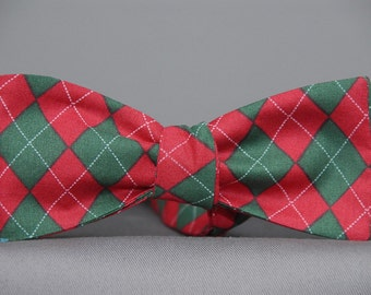 Green and Cranberry Red Argyle  Bow Tie