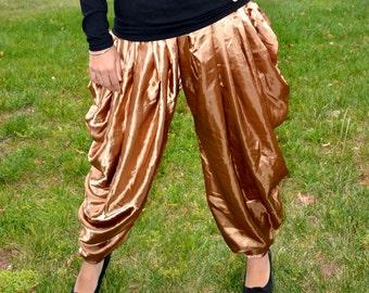 Topsycurvy beautiful Drawstring Charmeuse Satin Cocoa Hareem pants - LAST ONE HURRY