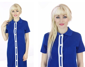 60s Mod Dress Vintage Blue White Trim Buttons Shift Sixties 1960s 70s 1970s Small S Medium M