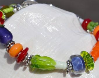 GARDENING-Handmade Lampwork and Sterling Silver Bracelet