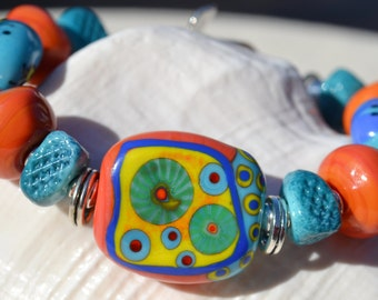 OUT of this WORLD-Handmade Lampwork and Sterling Silver Bracelet