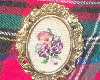 Flower Brooch in Floral Frame