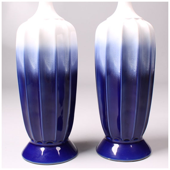 Vintage 1960s Cobalt Blue Ombre Drip Glaze By Mad4modvintage