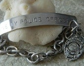 I love my Police Officer Stainless Steel Bracelet with Badge