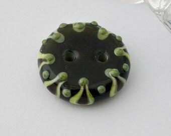 Green Moroccan Lampwork Button