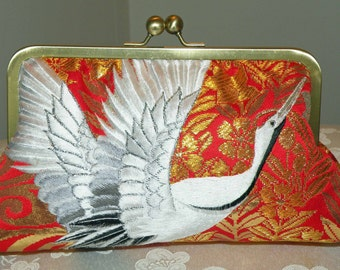Wedding/Bridal Silk Kimono Fabric Bag/Purse/Clutch..Embroidered Flying Cranes..Red/Gold/Ivory..Clouds..Cherry Blossom