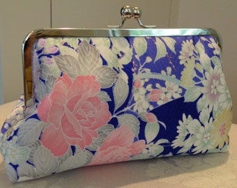 Silk Kimono Fabric Clutch/Purse/Bag..Orchids..Cherry Blossoms..Roses..Long Island Bride/Bridal/Wedding Gift..see Wrap/Scarf..Free Monogram