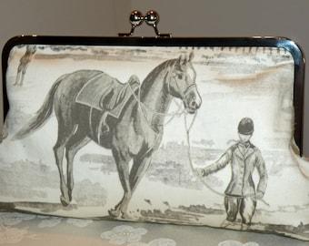 Large10in. Equestrian Clutch/Purse/Bag/Bridal Theme..Horse/Rider Jumper Paddock Barn..Long Island Wedding Gift..Cream/Gray/Pink Designer Fab
