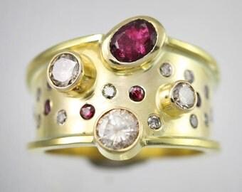 Galaxy Ring 14K Gold, Diamonds, Rubies (Made to Order)