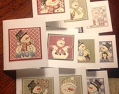 Christmas Snowmen Note Cards Set of 10 / Blank Inside