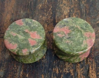 "7/8"" (22mm) Unakite Stone Plugs 1"