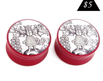 00g (9.5mm) Alchemy Ancient Symbol BMA Power Plugs Single Flare Pair