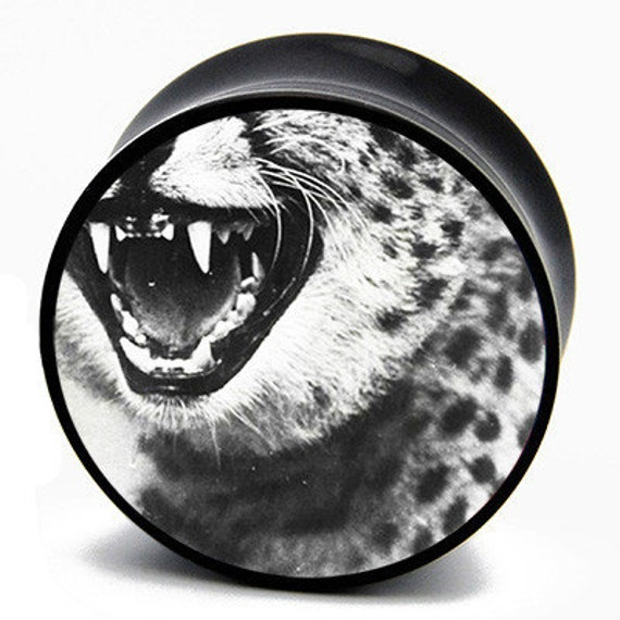 "7/16"" (11mm) Grunge Leopard Fangs BMA Plugs Single Flare Pair"