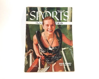 Sports Illustrated Magazine May 1955 1950s Pinup Skin Diver Oxford Cambridge Rowing Bear Hunt Jackie Robinson Mickey Mantle Baseball