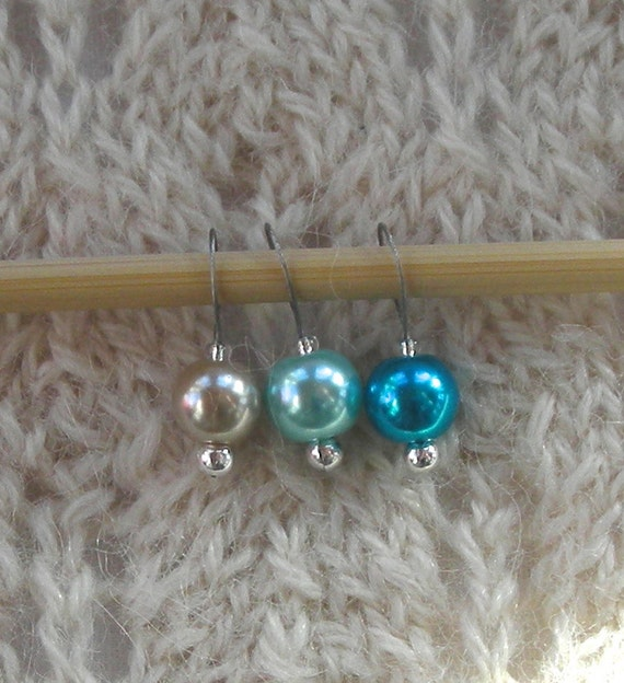 Lace Knitting Stitch Markers : Pearl Knitting Stitch Markers - sock lace shaw - Beach Turquoise Blue Sand - ...