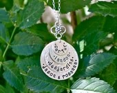 4 Disc Stacked Hand Stamped Necklace - Personalized Mom Jewelry, Grandma Jewelry, Family Jewelry, Personalized Mom Valentine Gift