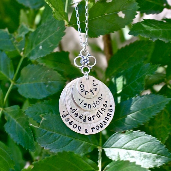 4 Disc Stacked Hand Stamped Necklace - Personalized Mom Jewelry, Grandma Jewelry, Family Jewelry, Personalized Mother's Day Gift